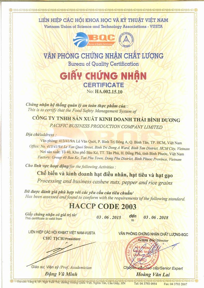 Chứng nhận tiêu chuẩn HACCP của công ty Thái Bình Dương